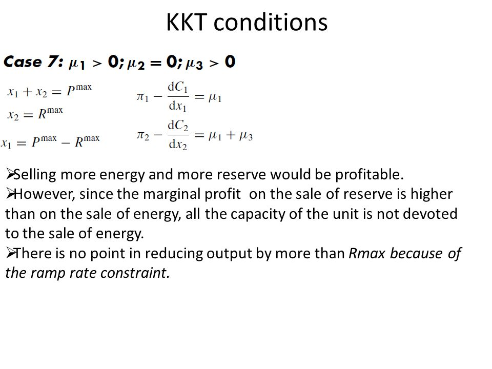 KKT conditions Selling more energy and more reserve would be profitable.