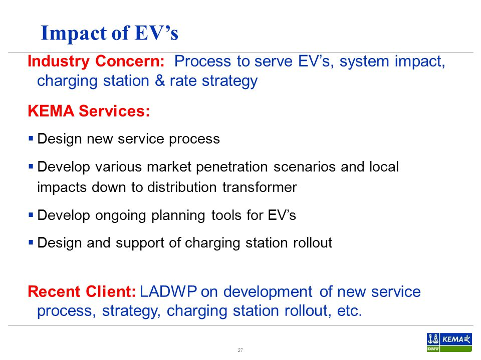 Impact of EV's Industry Concern: Process to serve EV's, system impact, charging station & rate strategy.