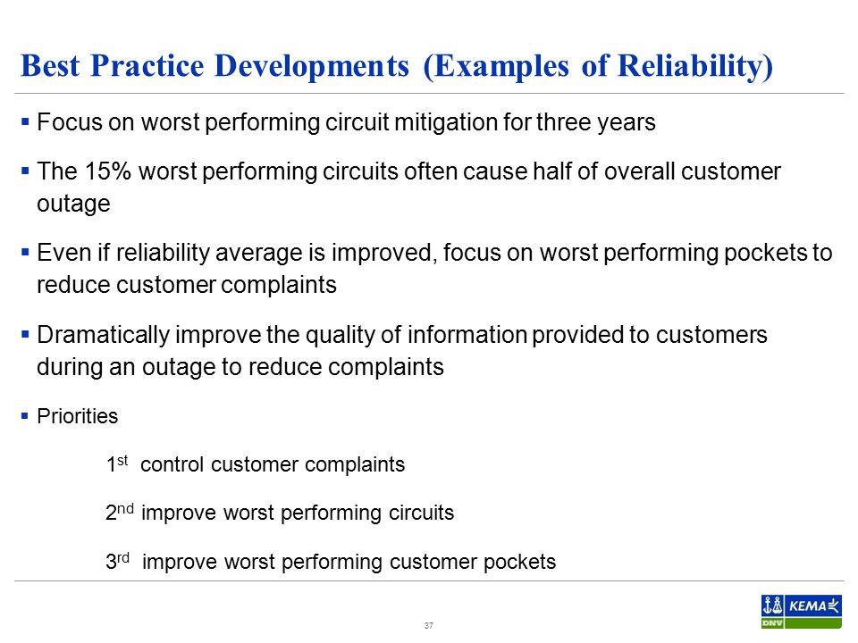 Best Practice Developments (Examples of Reliability)