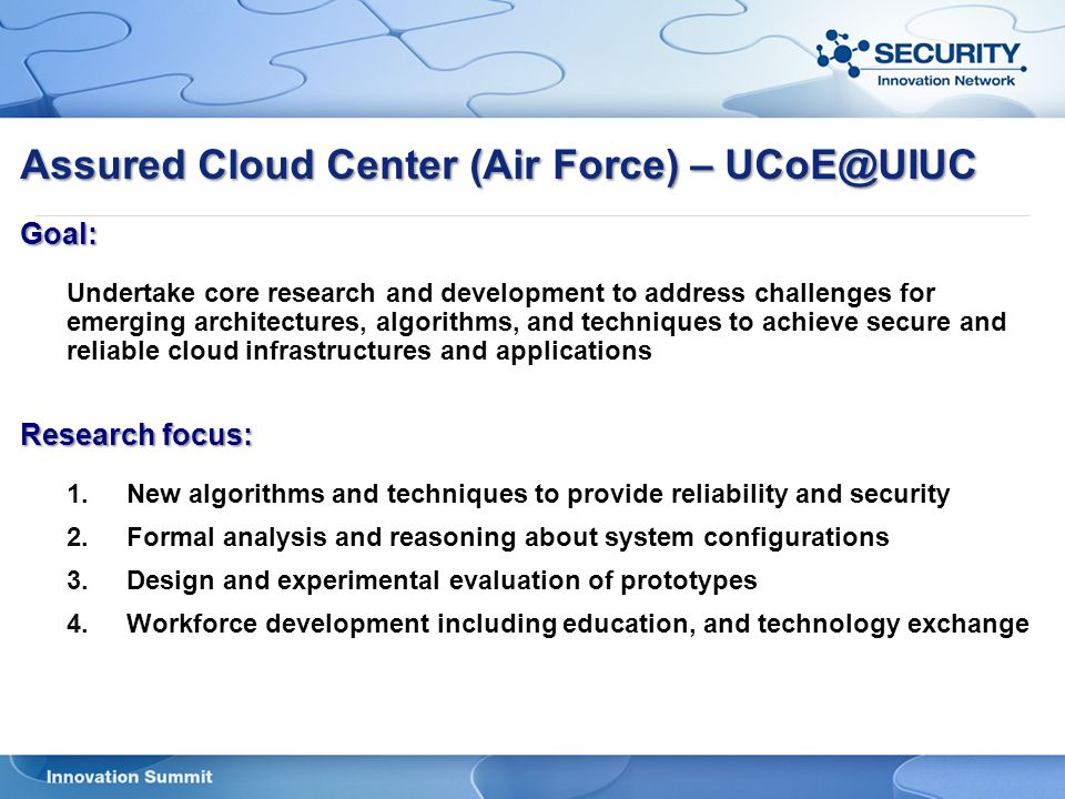 Assured Cloud Center (Air Force) – UCoE@UIUC