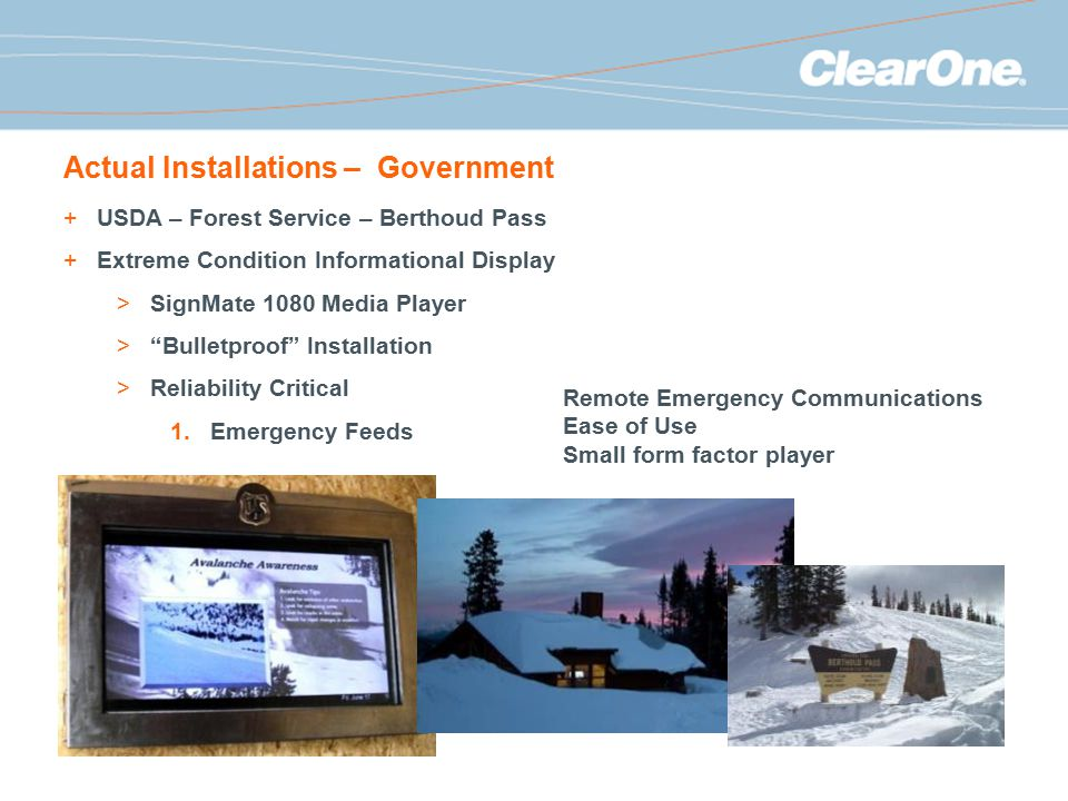 Actual Installations – Government