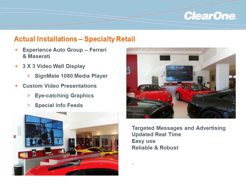 Actual Installations – Specialty Retail