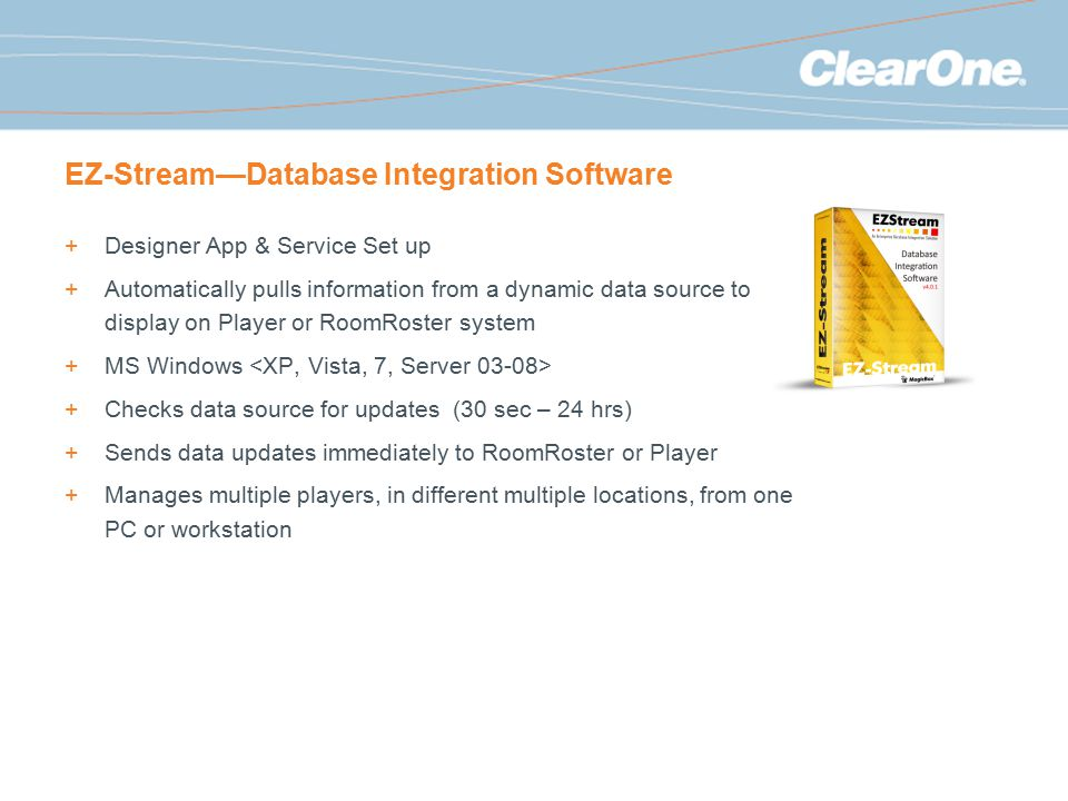 EZ-Stream—Database Integration Software