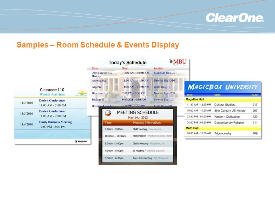 Samples – Room Schedule & Events Display