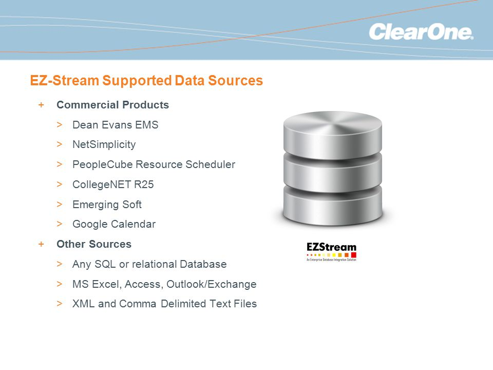 EZ-Stream Supported Data Sources