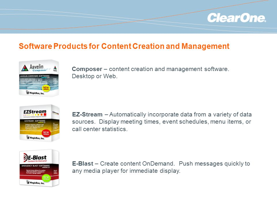 Software Products for Content Creation and Management