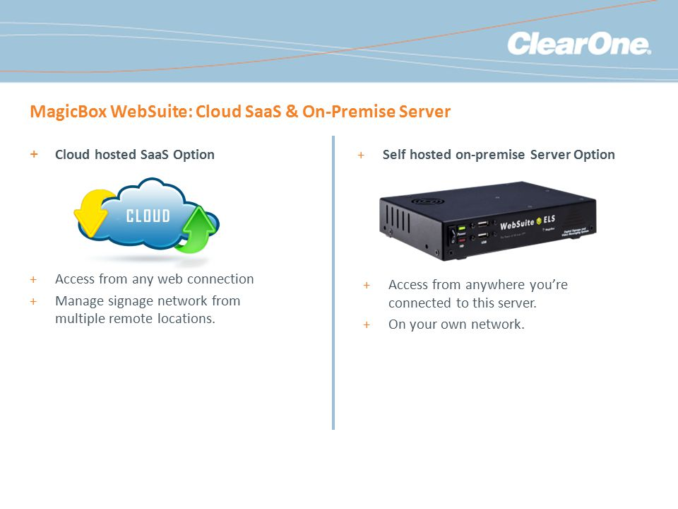 MagicBox WebSuite: Cloud SaaS & On-Premise Server