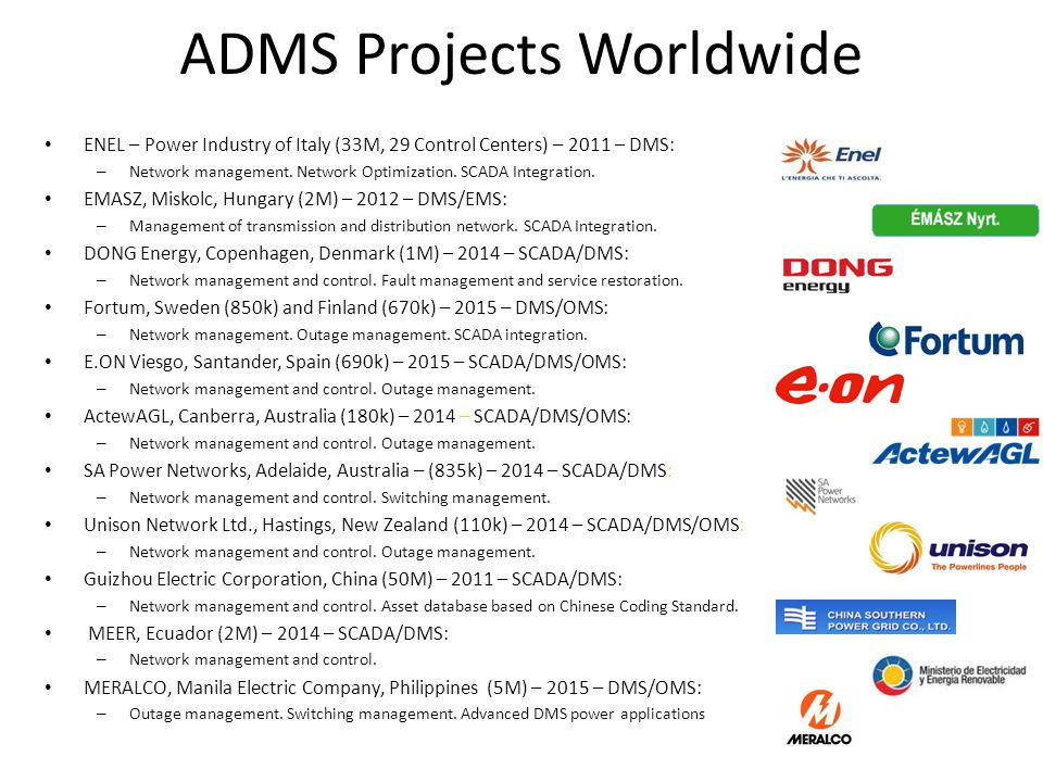 ADMS Projects Worldwide