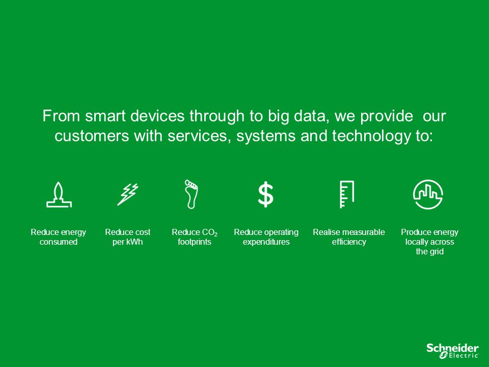 From smart devices through to big data, we provide our customers with services, systems and technology to: