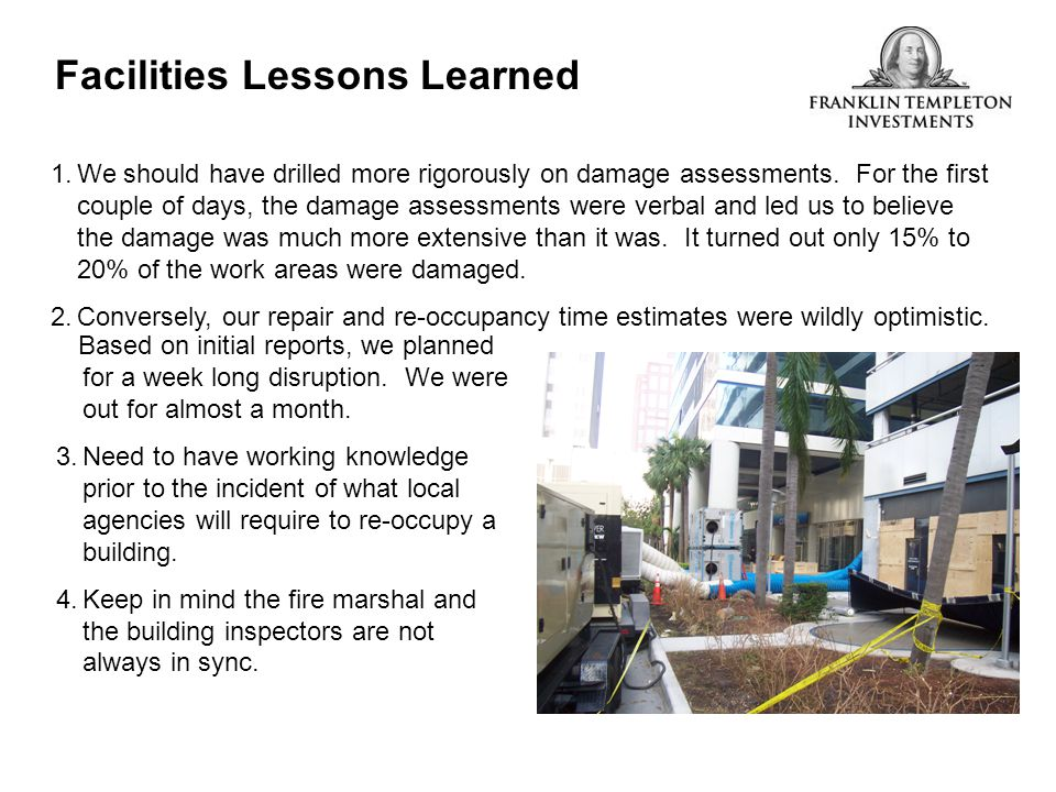 Facilities Lessons Learned