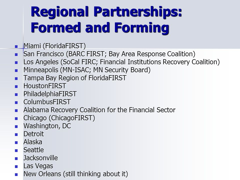 Regional Partnerships: Formed and Forming