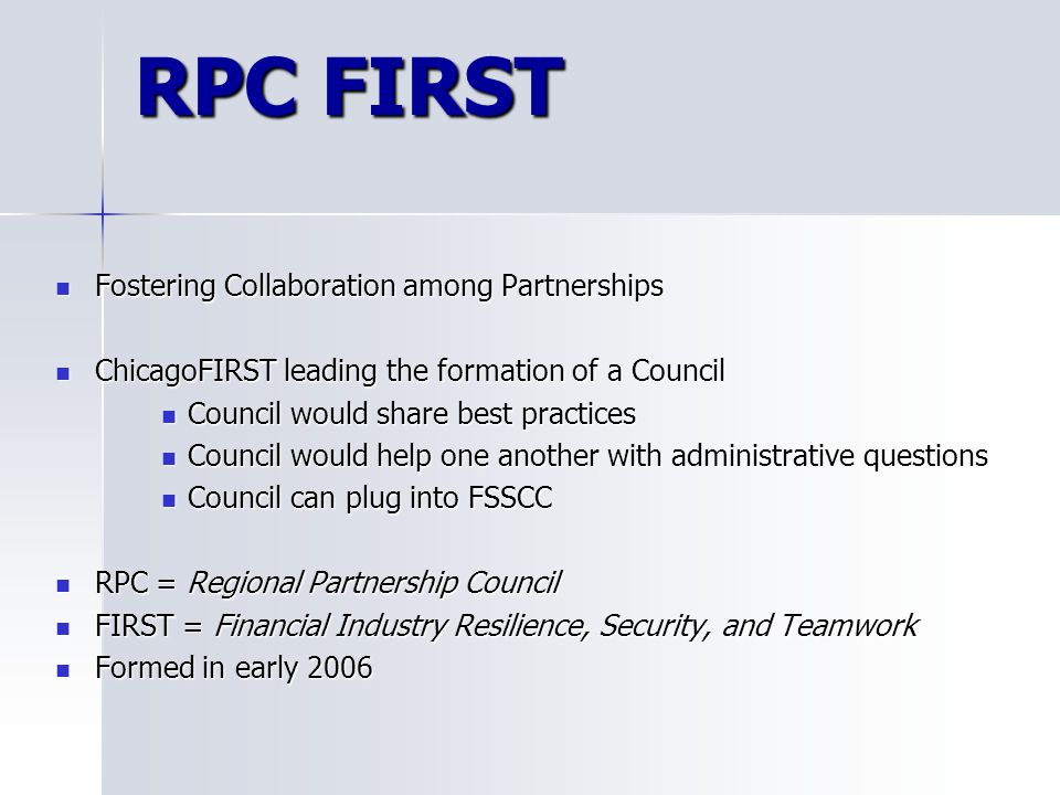 RPC FIRST Fostering Collaboration among Partnerships