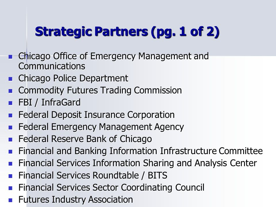 Strategic Partners (pg. 1 of 2)