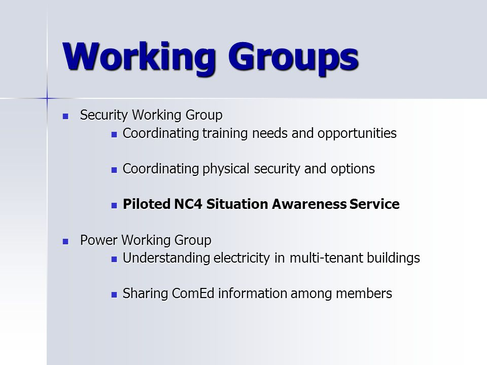 Working Groups Security Working Group