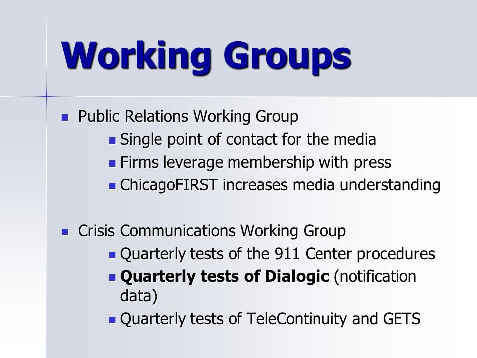 Working Groups Public Relations Working Group