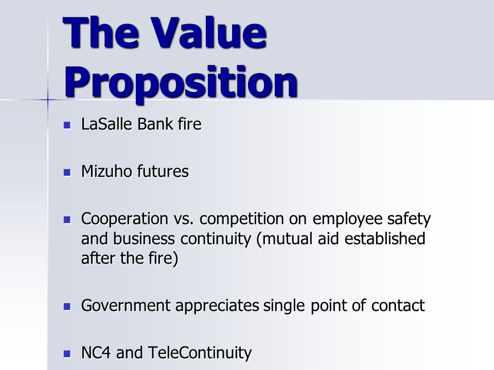 The Value Proposition LaSalle Bank fire Mizuho futures