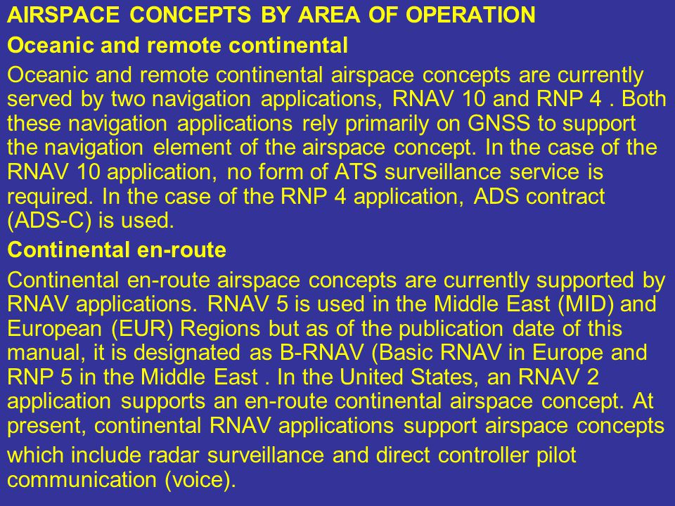 AIRSPACE CONCEPTS BY AREA OF OPERATION