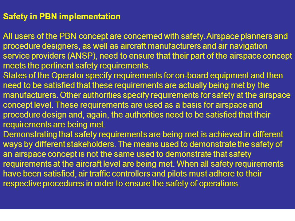 Safety in PBN implementation