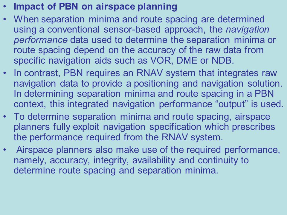 Impact of PBN on airspace planning