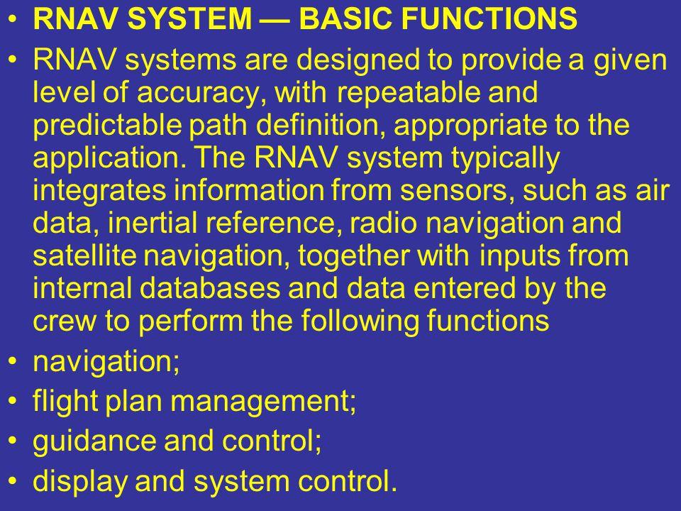 RNAV SYSTEM — BASIC FUNCTIONS