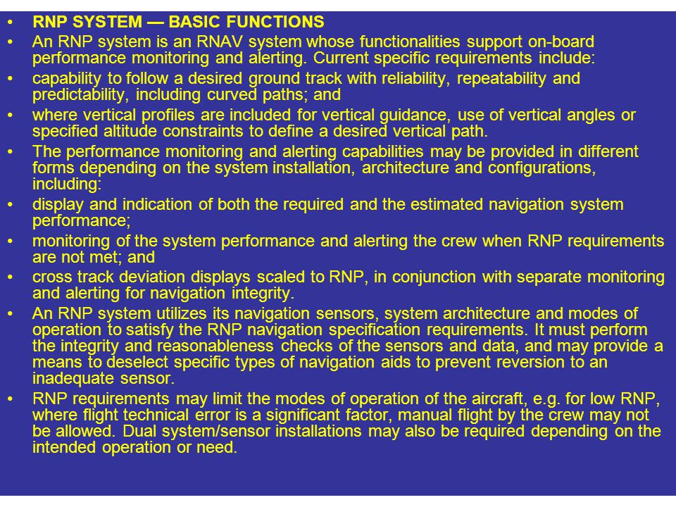 RNP SYSTEM — BASIC FUNCTIONS