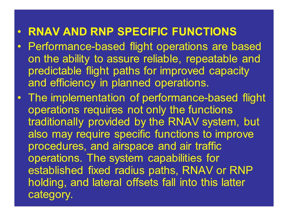 RNAV AND RNP SPECIFIC FUNCTIONS