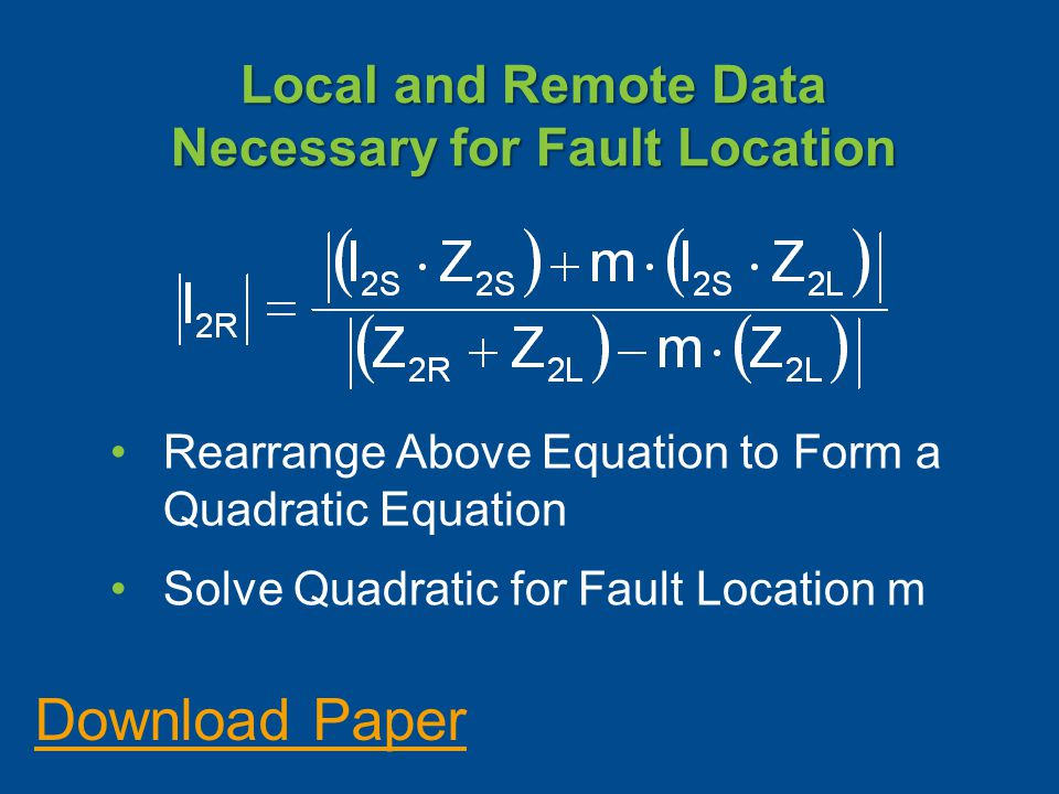 Local and Remote Data Necessary for Fault Location