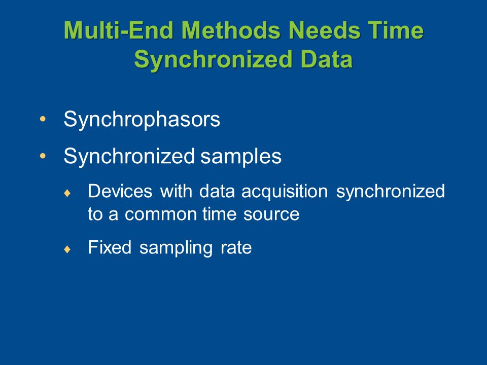 Multi-End Methods Needs Time Synchronized Data