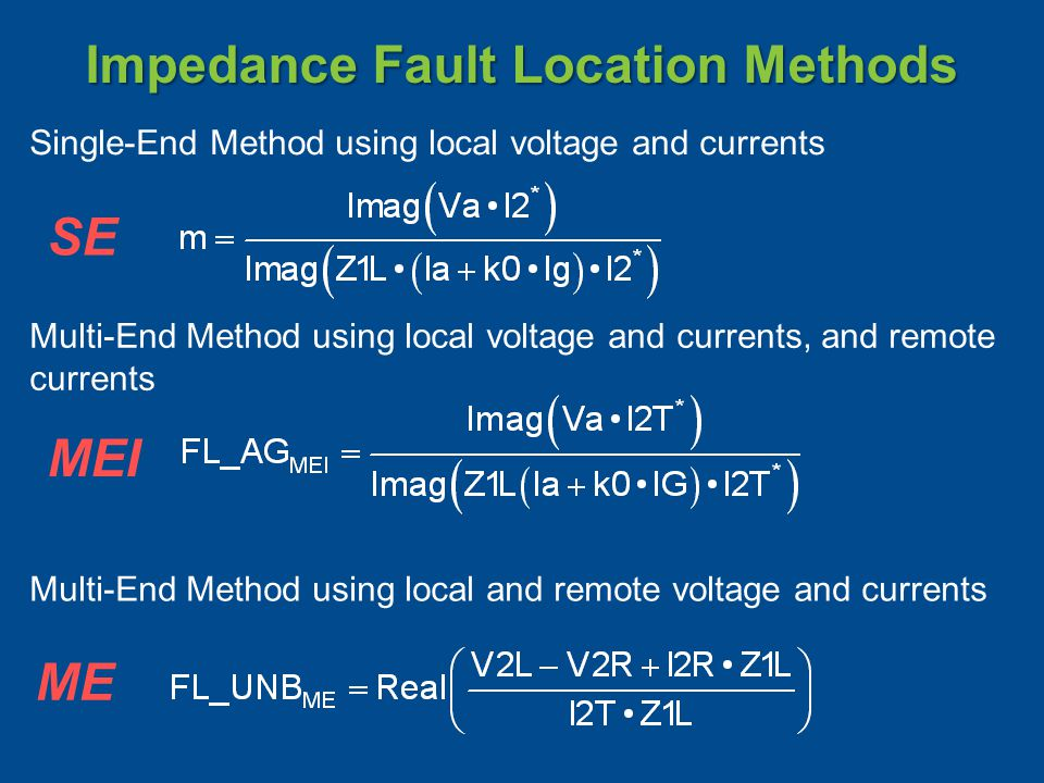 Impedance Fault Location Methods