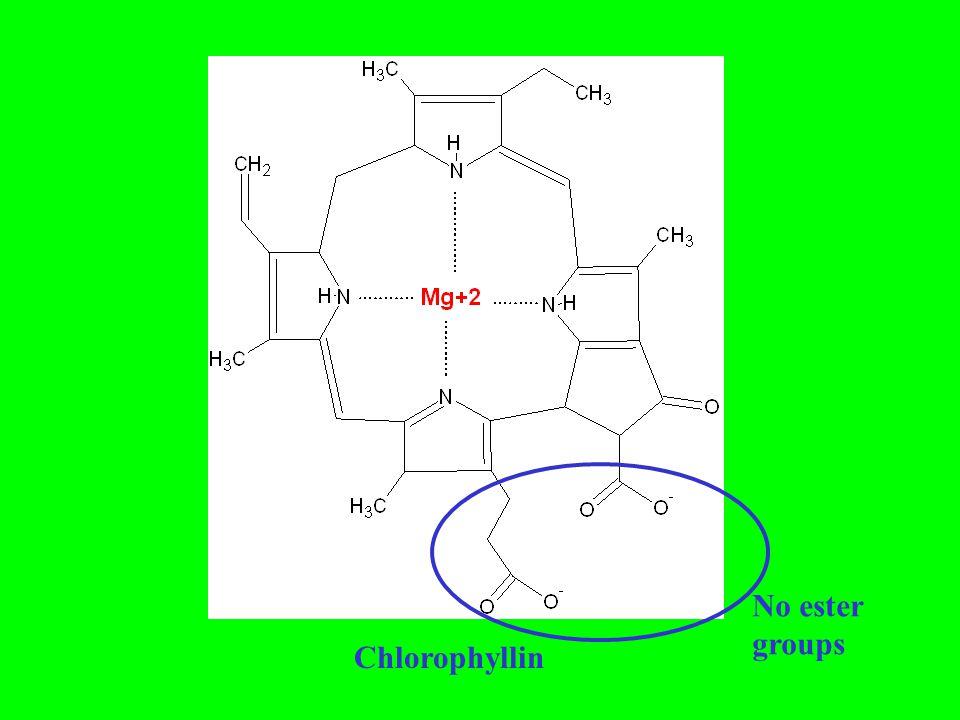 No ester groups Chlorophyllin