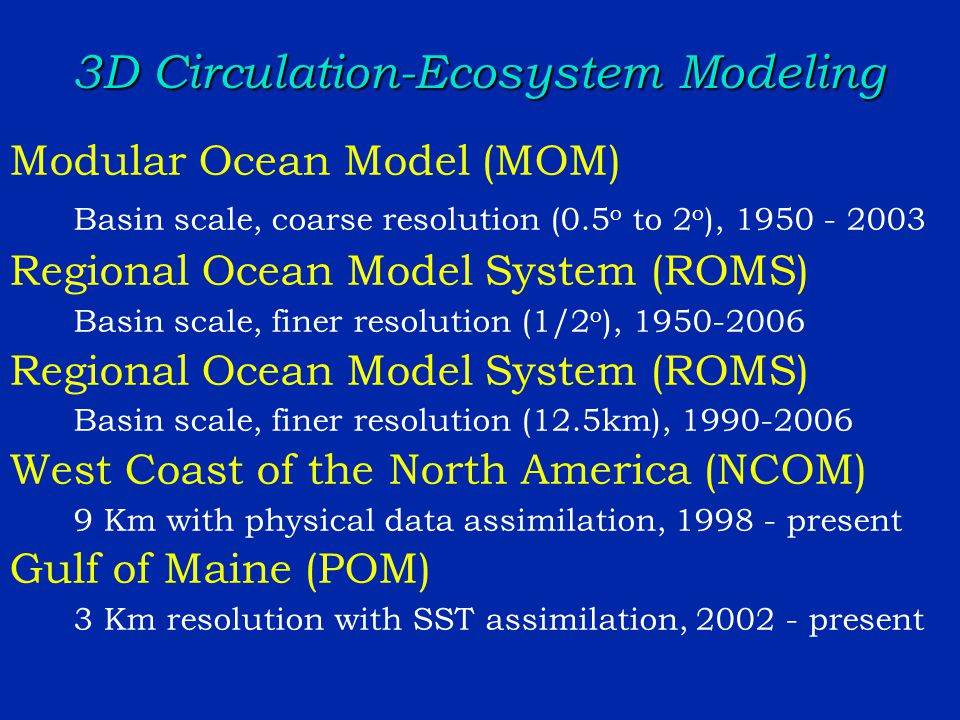 3D Circulation-Ecosystem Modeling