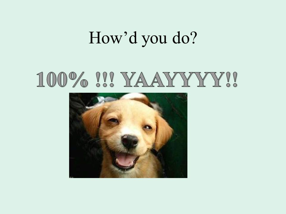 How'd you do 100% !!! YAAYYYY!!