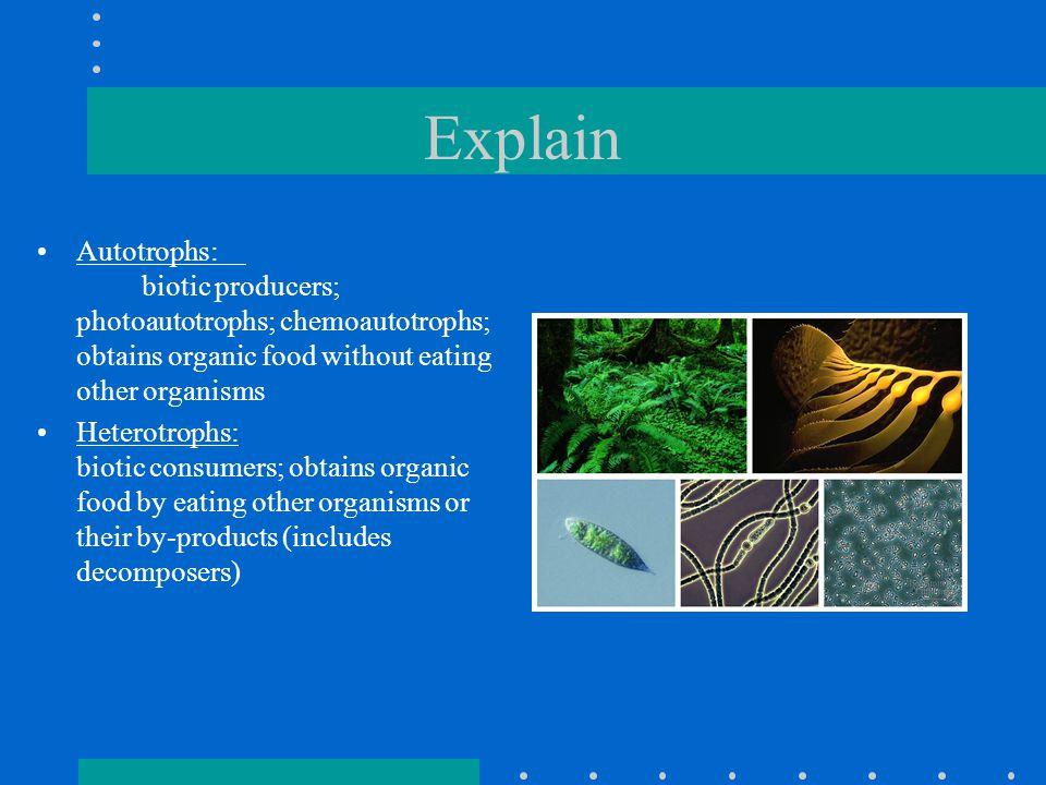 Explain Autotrophs: biotic producers; photoautotrophs; chemoautotrophs; obtains organic food without eating other organisms.