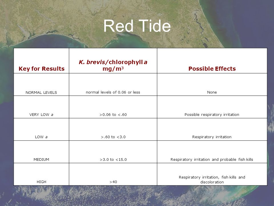 Red Tide Key for Results K. brevis/chlorophyll a mg/m3
