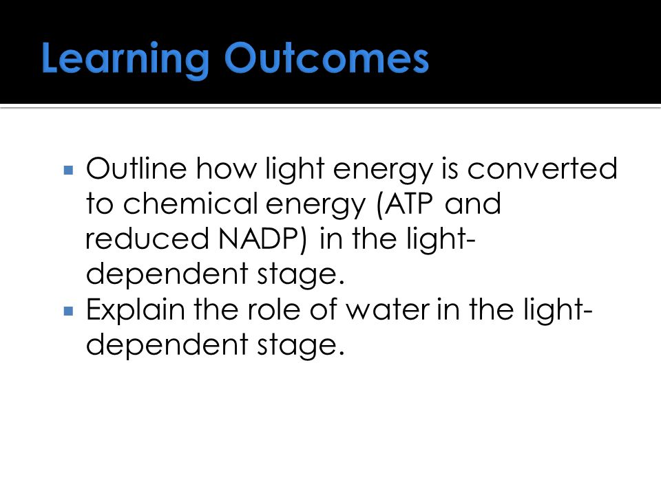 Learning Outcomes Outline how light energy is converted to chemical energy (ATP and reduced NADP) in the light-dependent stage.