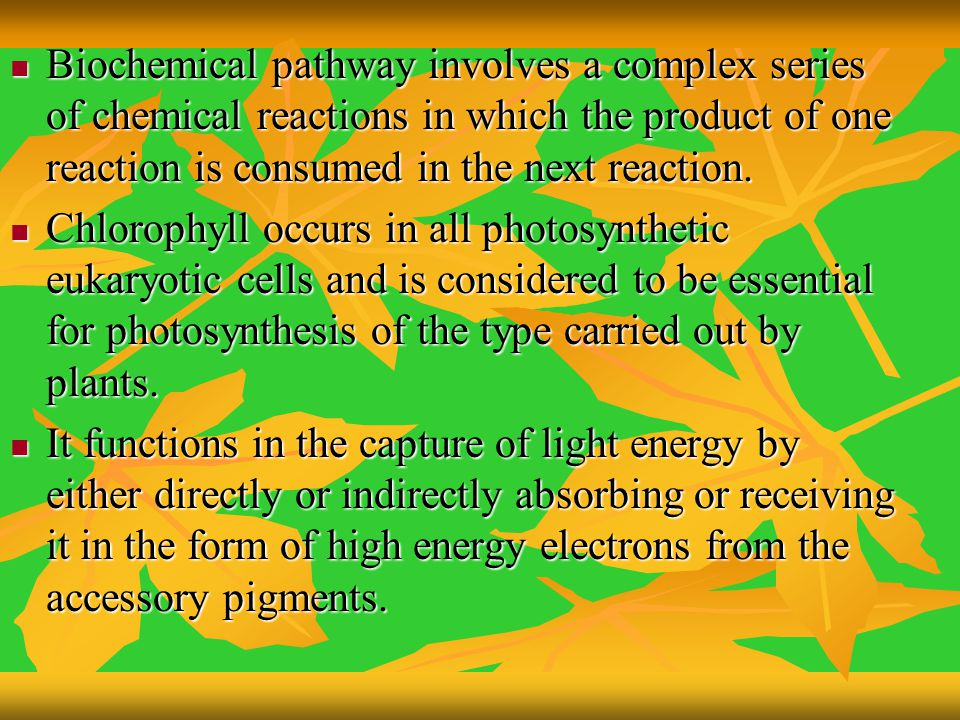 Biochemical pathway involves a complex series of chemical reactions in which the product of one reaction is consumed in the next reaction.