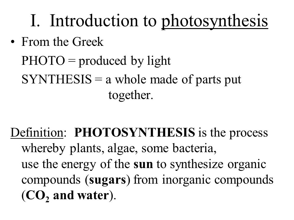 I. Introduction to photosynthesis