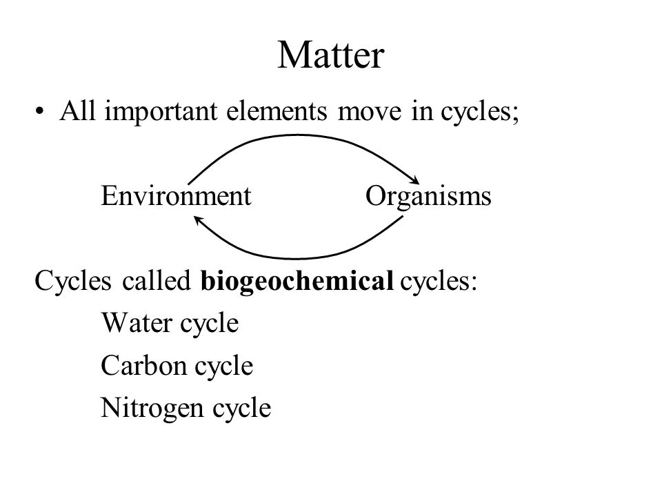 Matter All important elements move in cycles; Environment Organisms