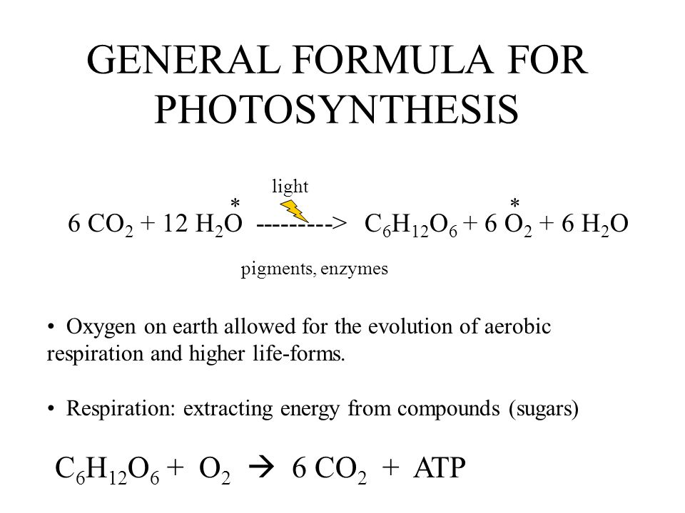 GENERAL FORMULA FOR PHOTOSYNTHESIS