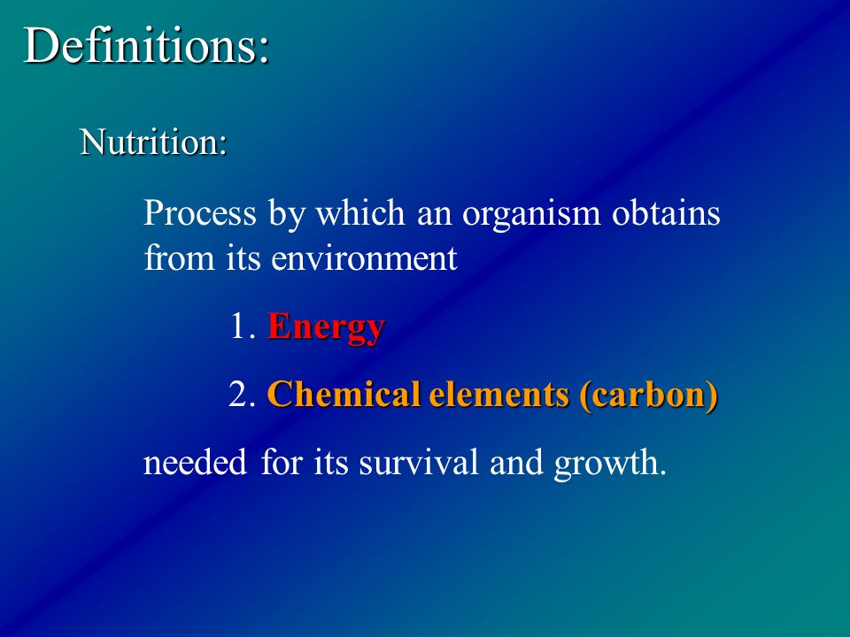 Definitions: Nutrition: