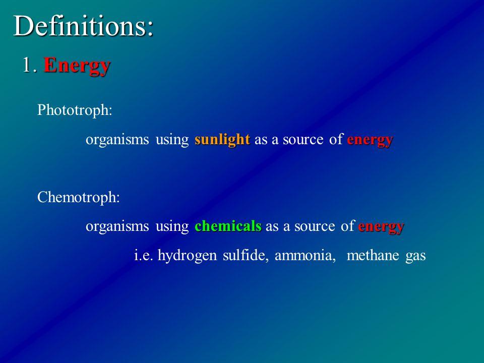 Definitions: 1. Energy Phototroph: