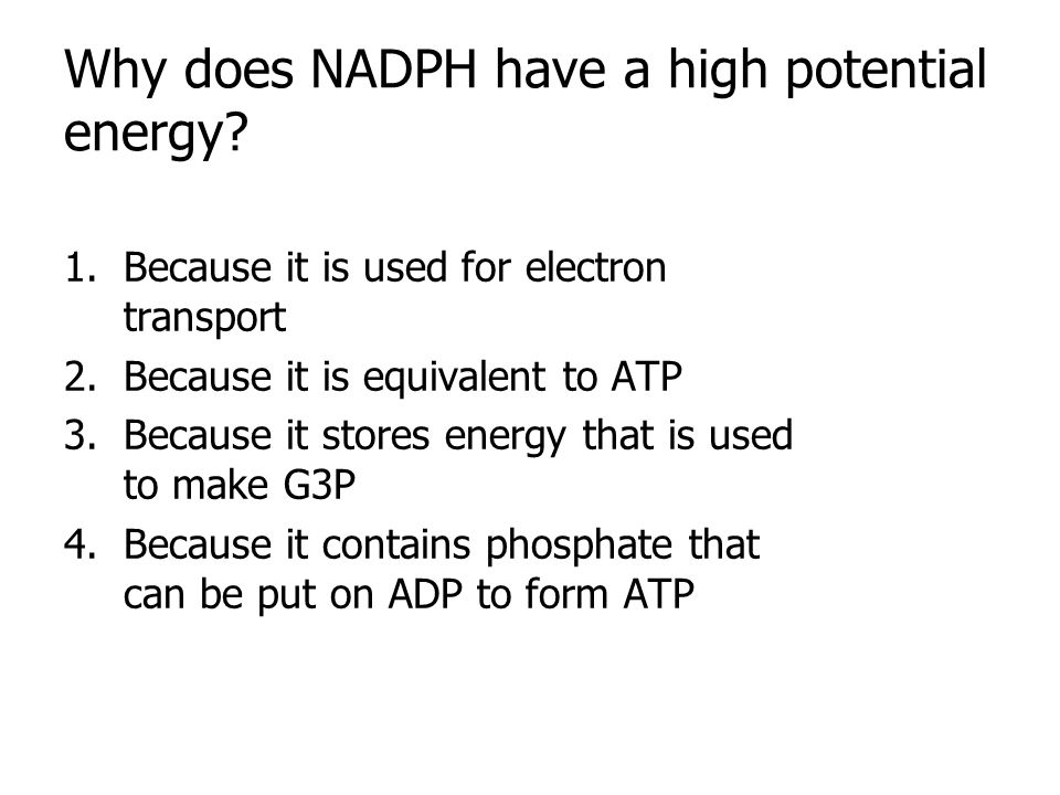 Why does NADPH have a high potential energy