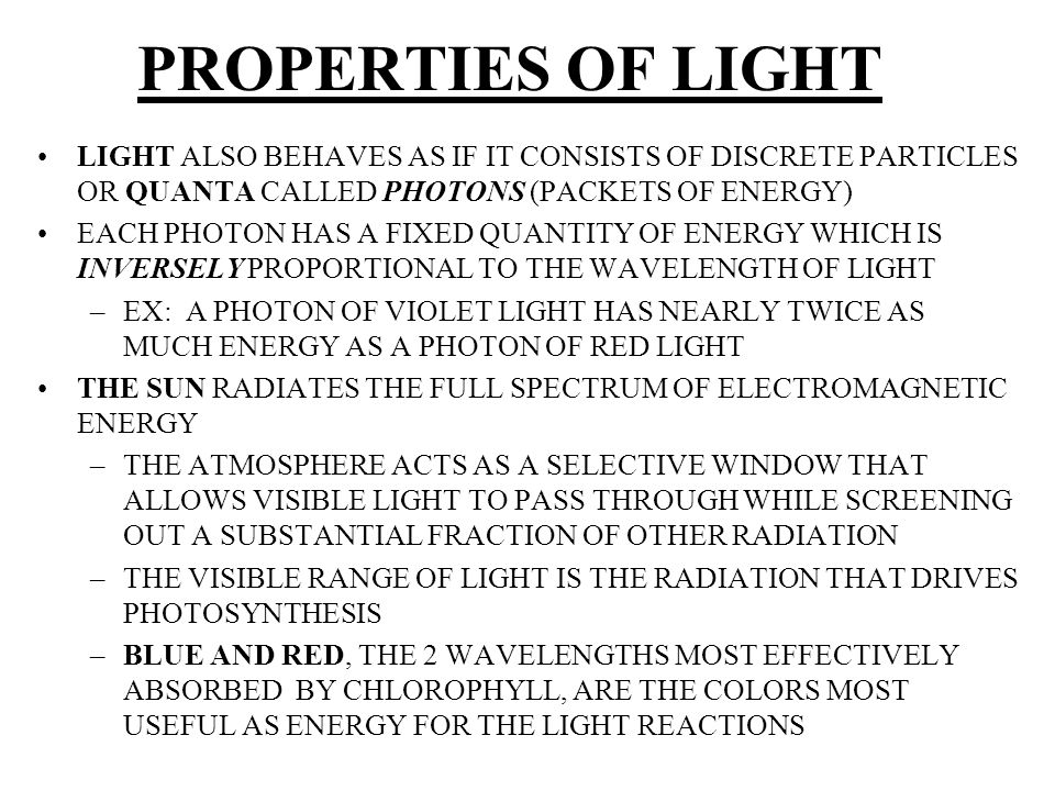 PROPERTIES OF LIGHT LIGHT ALSO BEHAVES AS IF IT CONSISTS OF DISCRETE PARTICLES OR QUANTA CALLED PHOTONS (PACKETS OF ENERGY)