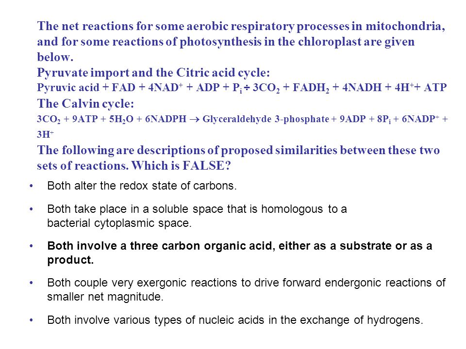 The net reactions for some aerobic respiratory processes in mitochondria, and for some reactions of photosynthesis in the chloroplast are given below. Pyruvate import and the Citric acid cycle: Pyruvic acid + FAD + 4NAD+ + ADP + Pi ÷ 3CO2 + FADH2 + 4NADH + 4H++ ATP The Calvin cycle: 3CO2 + 9ATP + 5H2O + 6NADPH  Glyceraldehyde 3-phosphate + 9ADP + 8Pi + 6NADP+ + 3H+ The following are descriptions of proposed similarities between these two sets of reactions. Which is FALSE