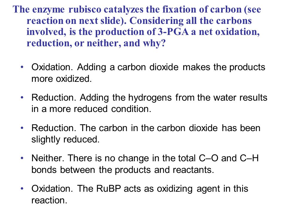 The enzyme rubisco catalyzes the fixation of carbon (see reaction on next slide). Considering all the carbons involved, is the production of 3-PGA a net oxidation, reduction, or neither, and why