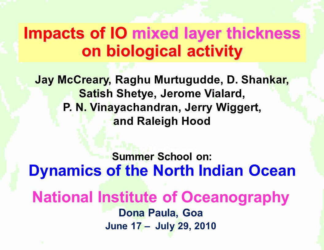 Impacts of IO mixed layer thickness on biological activity