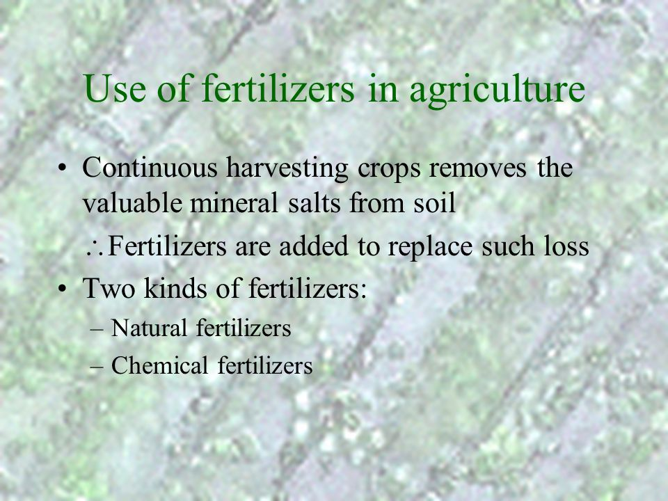 Use of fertilizers in agriculture