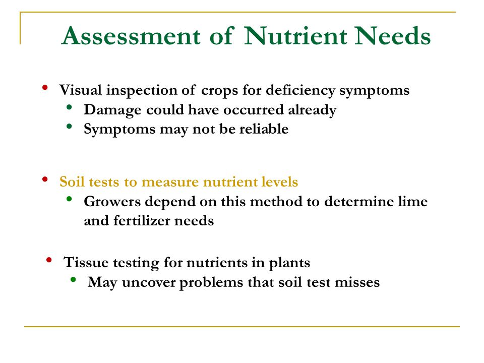 Assessment of Nutrient Needs