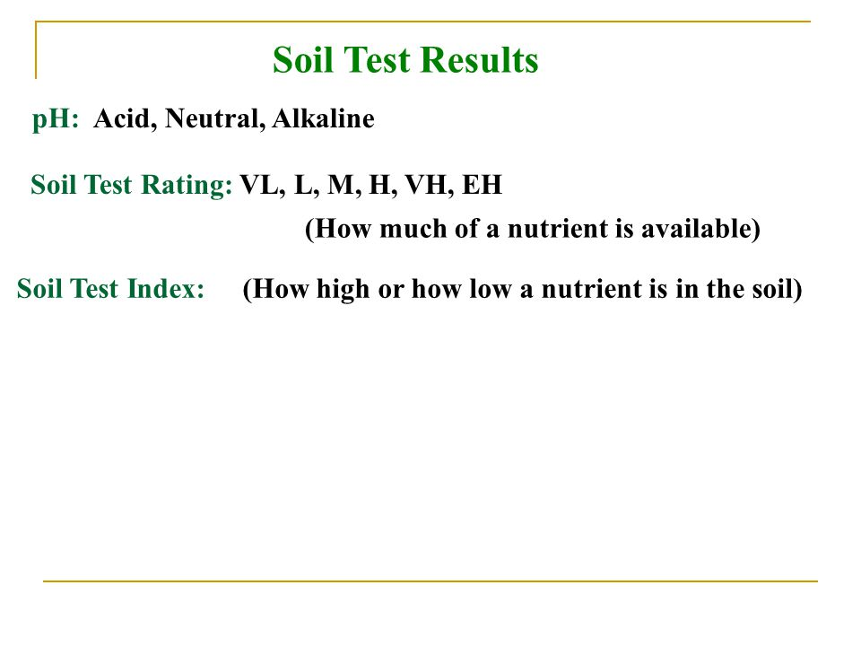 Soil Test Results pH: Acid, Neutral, Alkaline