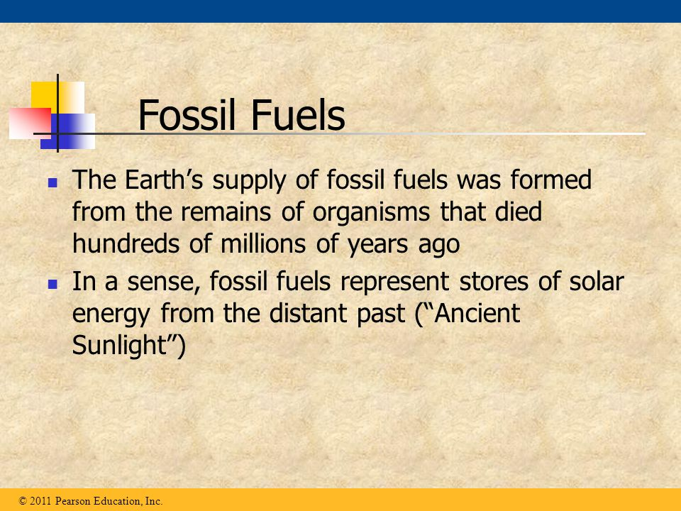 Fossil Fuels The Earth's supply of fossil fuels was formed from the remains of organisms that died hundreds of millions of years ago.